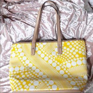 KATE LANDRY Yellow Circle Print Faux Leather Tote
